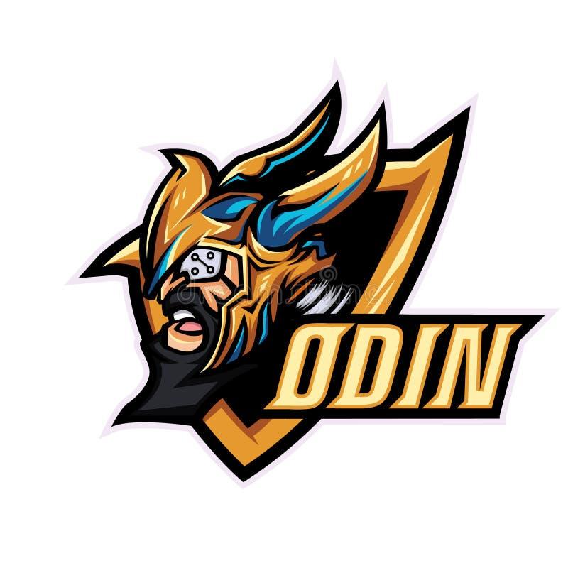 Plantilla para el deporte, equipo del juego, logotipo de la compañía, logotipo del logotipo de la mascota de Odin de dios del equ libre illustration