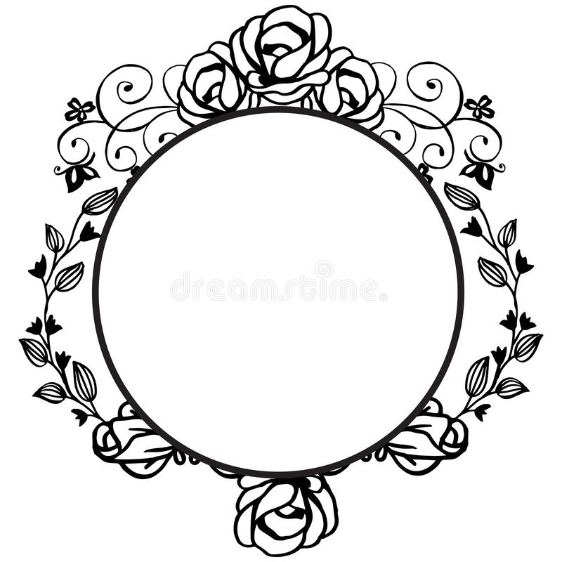 Plantilla para el diseño con el marco floral, adornada de diversa tarjeta Vector ilustración del vector