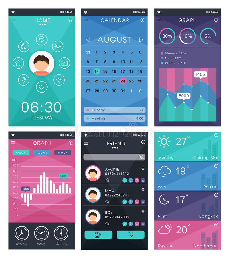 Plantilla para el diseño móvil del app libre illustration