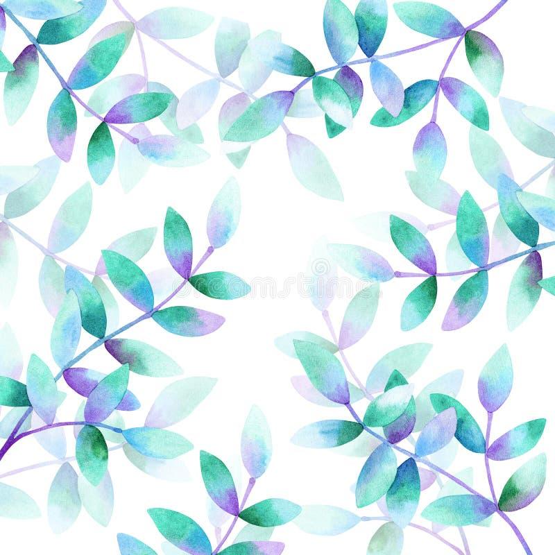 Plantilla para el dise?o Fondo con las ramas hermosas con las hojas azules púrpuras verdes Acuarela dibujada mano libre illustration