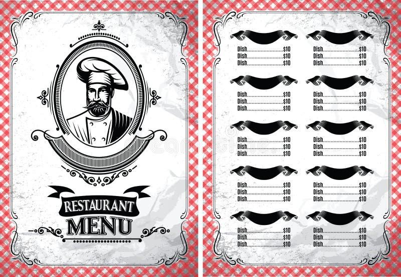 Plantilla para el menú del restaurante en estilo retro con el cocinero stock de ilustración