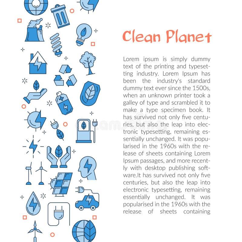Plantilla para el planeta limpio con el texto y los iconos ilustración del vector