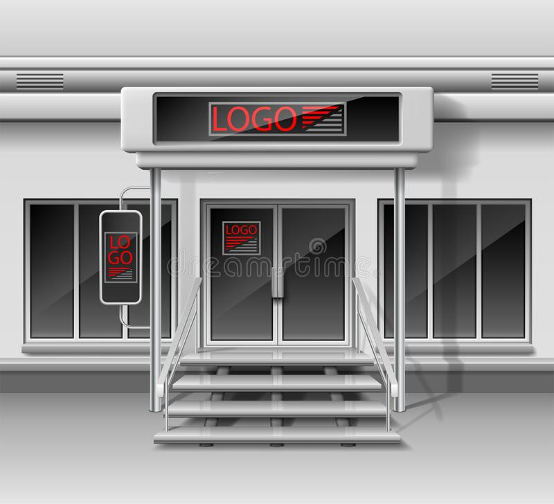 Plantilla para hacer publicidad de la fachada del frente de la tienda 3d Tienda exterior con la puerta, identidad corporativa Maq libre illustration