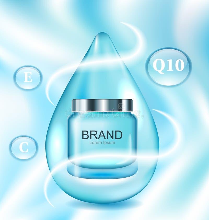 Plantilla para hacer publicidad del cartel para el cuidado de piel facial del tratamiento cosmético stock de ilustración