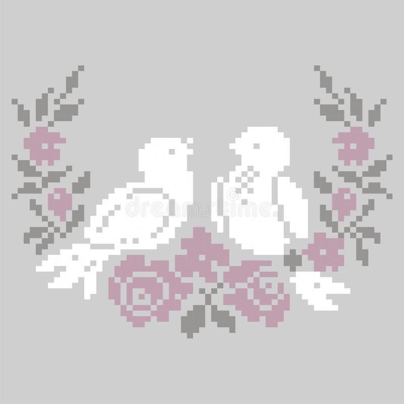 Plantilla para hacer punto y el punto de cruz del bordado Modelo del jardín del verano de los pájaros y de las flores ilustración del vector