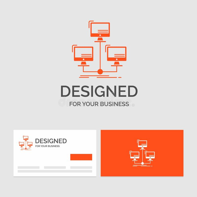 Plantilla para la base de datos, distribuida, conexión, red, ordenador del logotipo del negocio Tarjetas de visita anaranjadas co ilustración del vector
