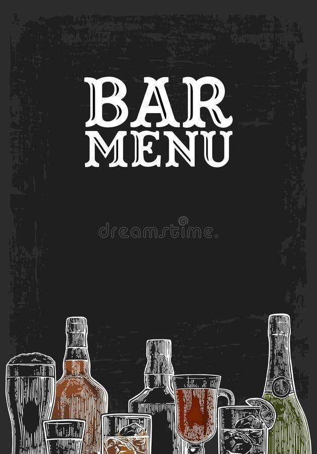 Plantilla para la bebida del alcohol del menú de la barra stock de ilustración