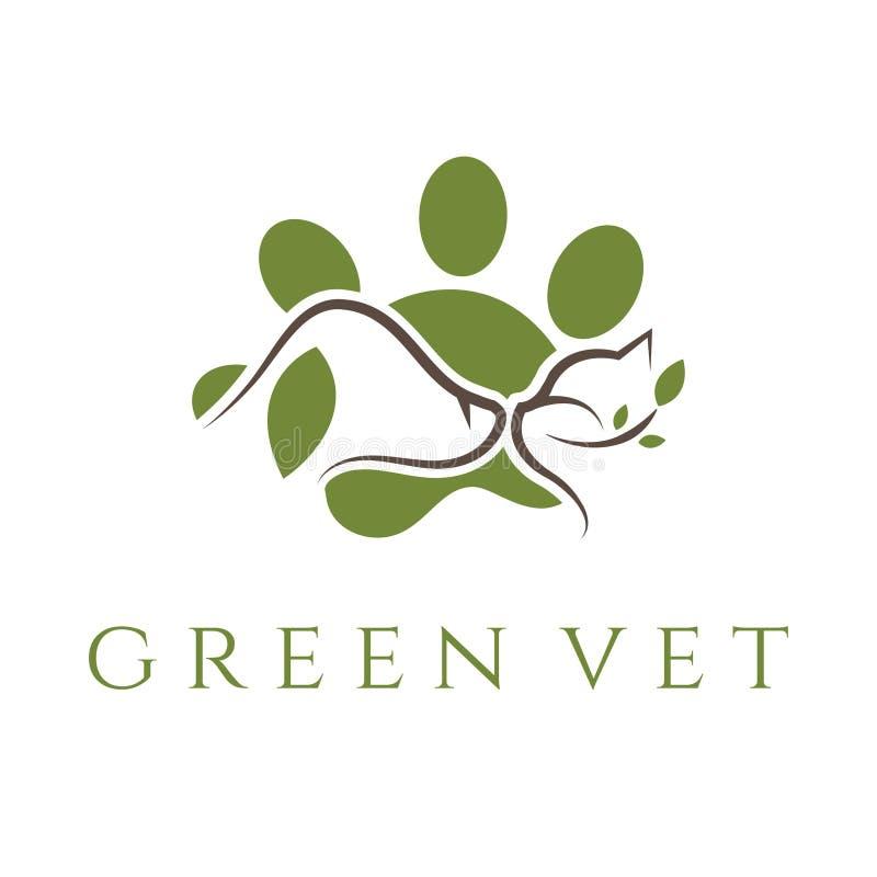 plantilla para la clínica veterinaria con el gato y el perro Vector ilustración del vector
