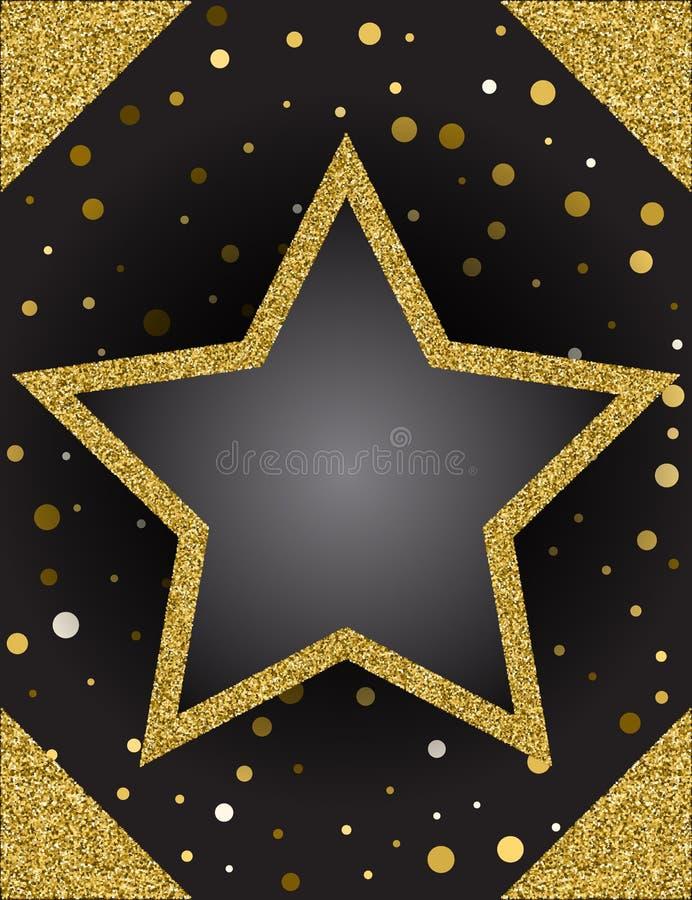 Plantilla para la tarjeta de la oferta del saludo del negocio Estrella brillante fra del oro libre illustration