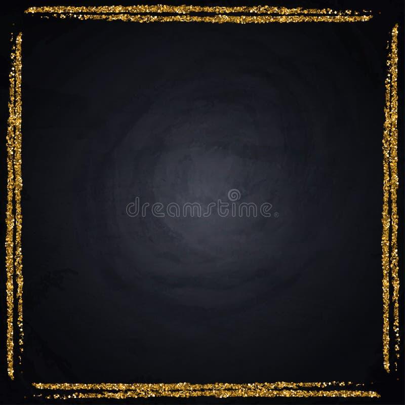 Plantilla para la tarjeta de la oferta del saludo del negocio Marco brillante del oro en la pizarra imagenes de archivo