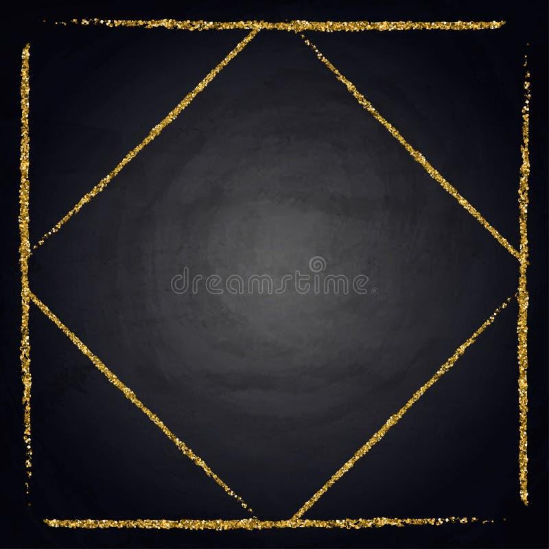 Plantilla para la tarjeta de la oferta del saludo del negocio Marco brillante del oro en la pizarra fotografía de archivo libre de regalías