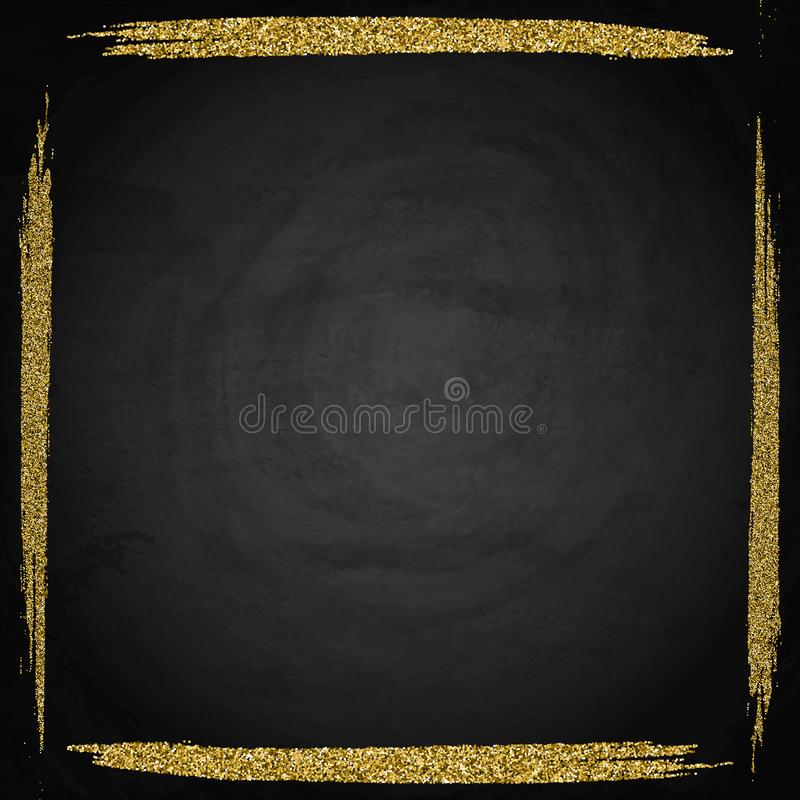 Plantilla para la tarjeta de la oferta del saludo del negocio Marco brillante del oro encendido stock de ilustración