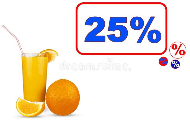 Plantilla para la venta con descuento de zumo de naranja u otros zumos foto de archivo