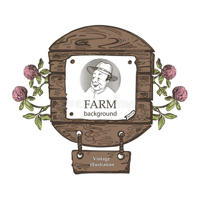 Plantilla para los productos agrícolas Retrato de un hombre en un sombrero Ilustraci?n de la vendimia ilustración del vector