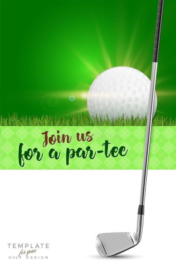 Plantilla para su diseño del golf con el espacio de la copia ilustración del vector