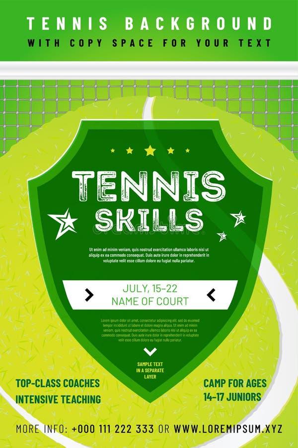 Plantilla para su diseño del tenis con el texto de la muestra stock de ilustración