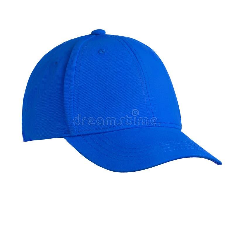 Plantilla para su gorra de béisbol azul del espacio en blanco del diseño aislada en el fondo blanco con la trayectoria de recorte imagen de archivo libre de regalías