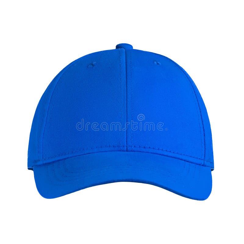 Plantilla para su gorra de béisbol azul del espacio en blanco del diseño aislada en el fondo blanco con la trayectoria de recorte fotos de archivo