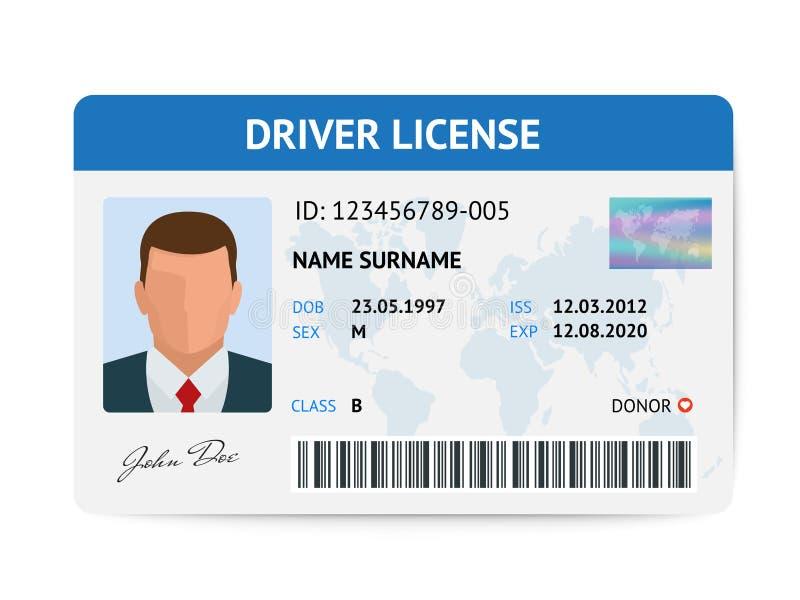 Plantilla plástica de la tarjeta del carné de conducir plano del hombre, ejemplo del vector de la tarjeta de la identificación ilustración del vector