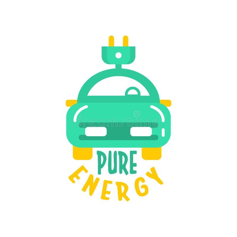 Plantilla plana creativa del diseño del logotipo del estilo con el coche eléctrico y el enchufe Tecnología y negocio de Eco Carga stock de ilustración