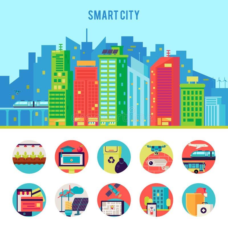 Plantilla plana de Infographic de la ciudad elegante stock de ilustración