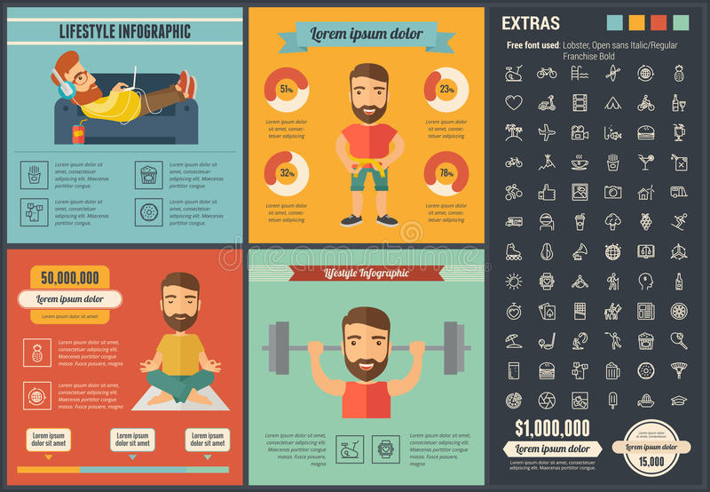 Plantilla plana de Infographic del diseño de la forma de vida stock de ilustración