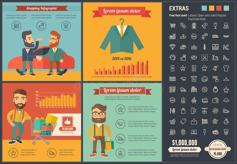 Plantilla plana de Infographic del diseño que hace compras libre illustration