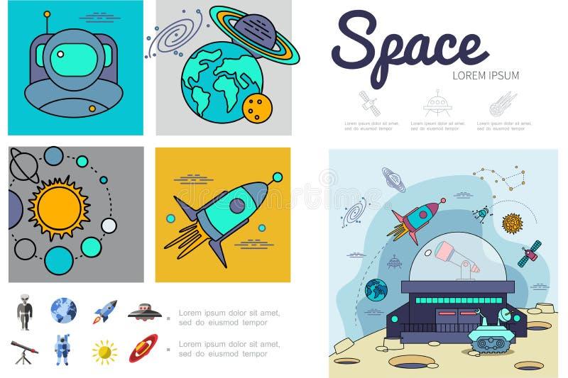 Plantilla plana de Infographic del espacio stock de ilustración