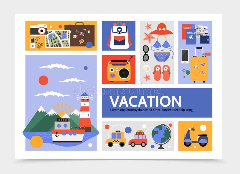 Plantilla plana de Infographic del viaje del verano libre illustration