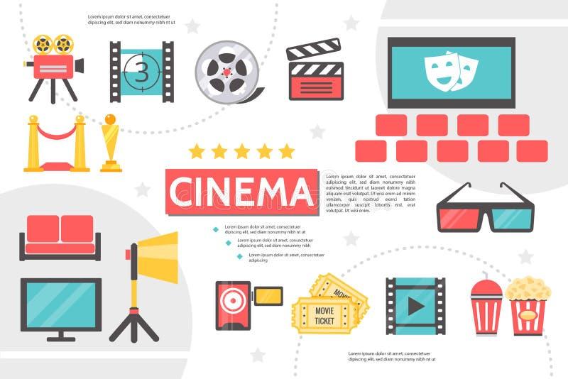 Plantilla plana de Infographic de la cinematografía libre illustration