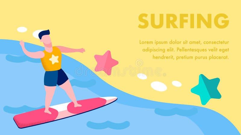 Plantilla plana de la bandera del vector de los deportes acuáticos extremos libre illustration