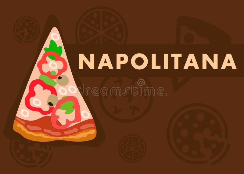 Plantilla plana de la historieta de la bandera de la web de la pizza de Napolitana ilustración del vector