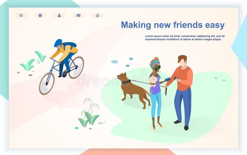Plantilla plana de la página web del vector del espacio público de la ciudad ilustración del vector