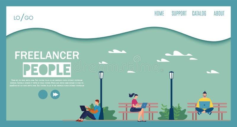 Plantilla plana de la página web del vector de la gente del Freelancer ilustración del vector