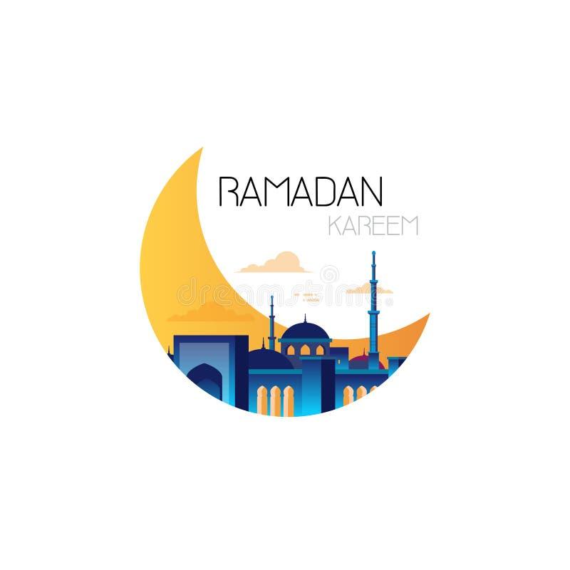 Plantilla plana de la tarjeta de felicitación del mes santo musulmán de la religión del kareem del Ramadán en el fondo blanco stock de ilustración