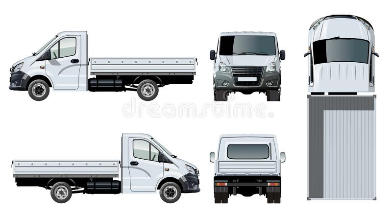 Plantilla plana del camión del vector aislada en blanco libre illustration