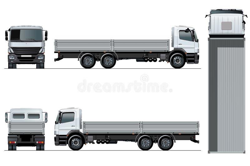 Plantilla plana del camión del vector aislada en blanco ilustración del vector