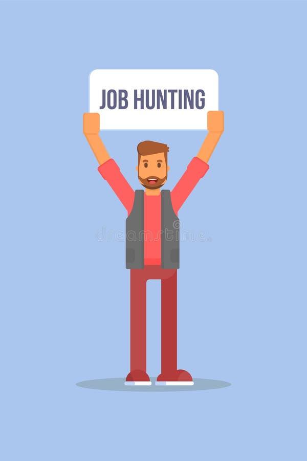 Plantilla plana del cartel del color del vector de la búsqueda de empleo libre illustration