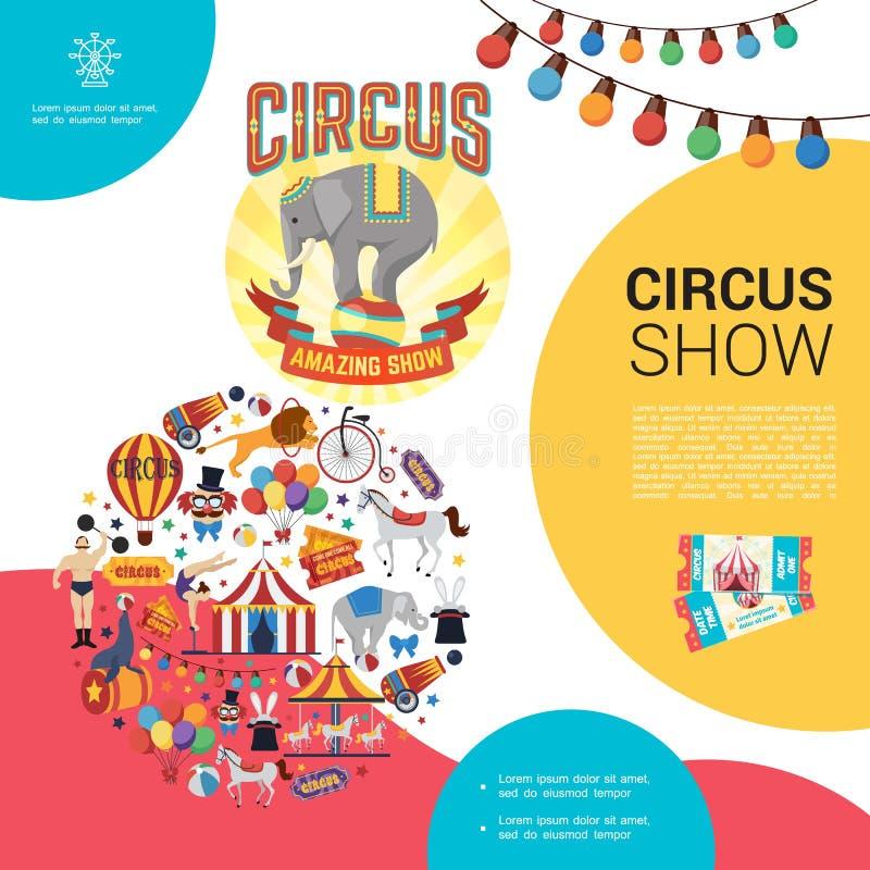 Plantilla plana del circo del carnaval stock de ilustración