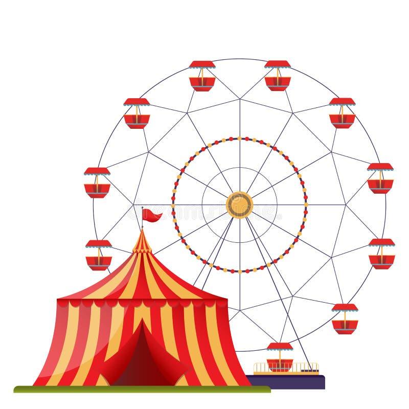 Plantilla plana del diseño con la noria y la tienda de circo stock de ilustración