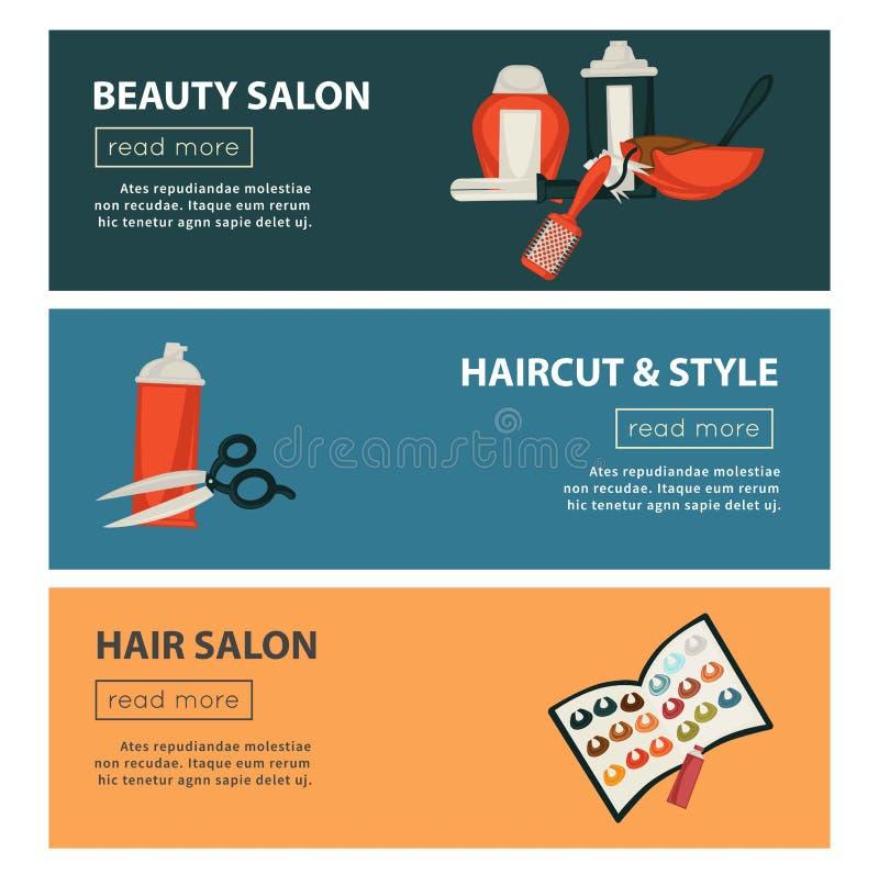 Plantilla plana del diseño de las banderas del web del salón de belleza del peluquero para diseñar de la coloración del cabello y ilustración del vector