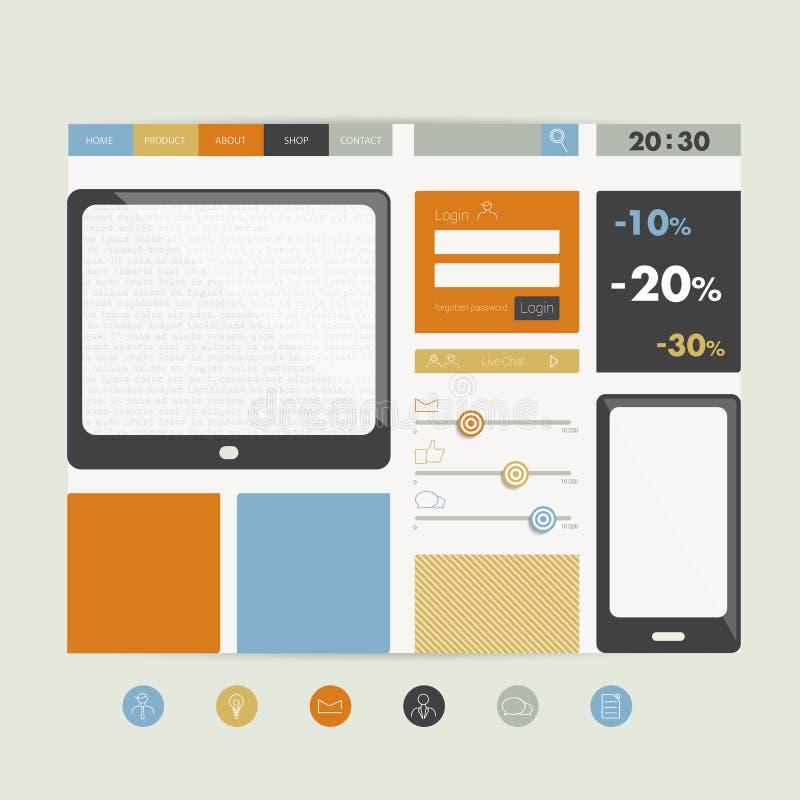 Download Plantilla Plana Del Diseño Del Sitio Web Ilustración del Vector - Ilustración de botón, diseño: 42443587