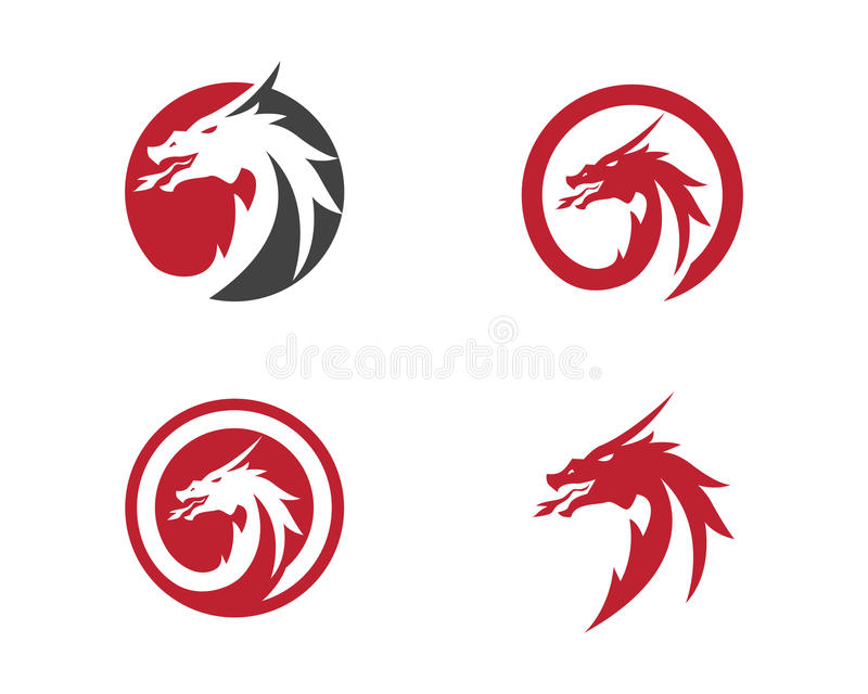 Plantilla plana del logotipo del color del dragón principal stock de ilustración