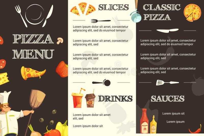 Plantilla plana del menú de la pizza para el restaurante ilustración del vector