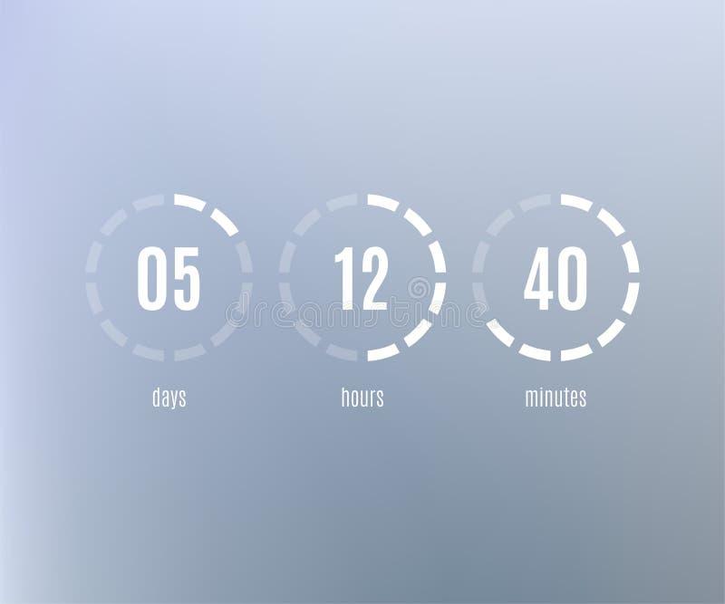 Plantilla plana del sitio web de la cuenta descendiente Contador de tiempo de Digitaces stock de ilustración