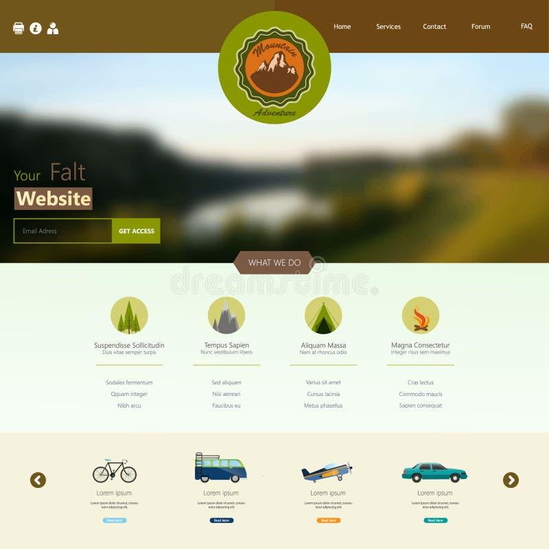 Plantilla plana del sitio web que acampa con diseño de la etiqueta y el fondo blured stock de ilustración