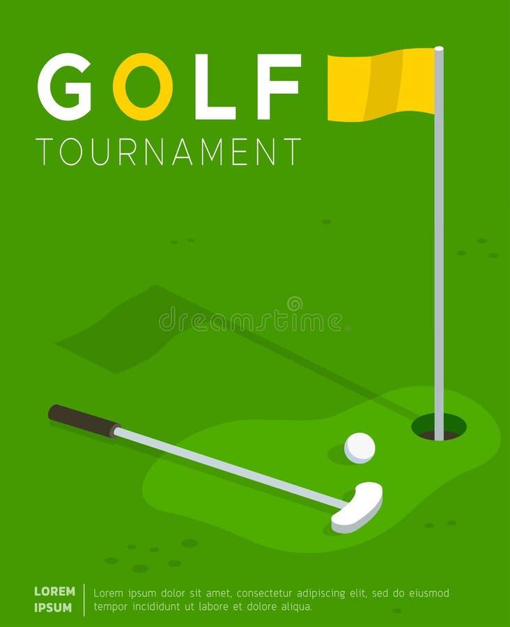 Plantilla plana del vector del cartel del promo del torneo del golf stock de ilustración