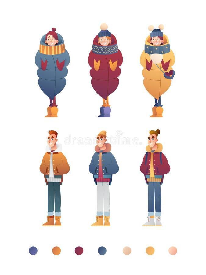 Plantilla plana hermosa del sistema del diseño con las muchachas y los muchachos del vector en ropa del invierno en estilo de la  ilustración del vector