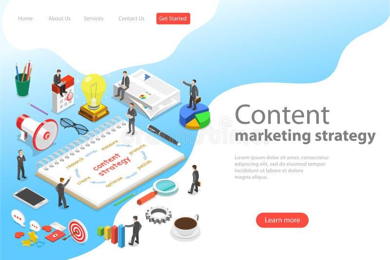 Plantilla plana isométrica de la página del aterrizaje del vector de la estrategia de marketing contenta libre illustration