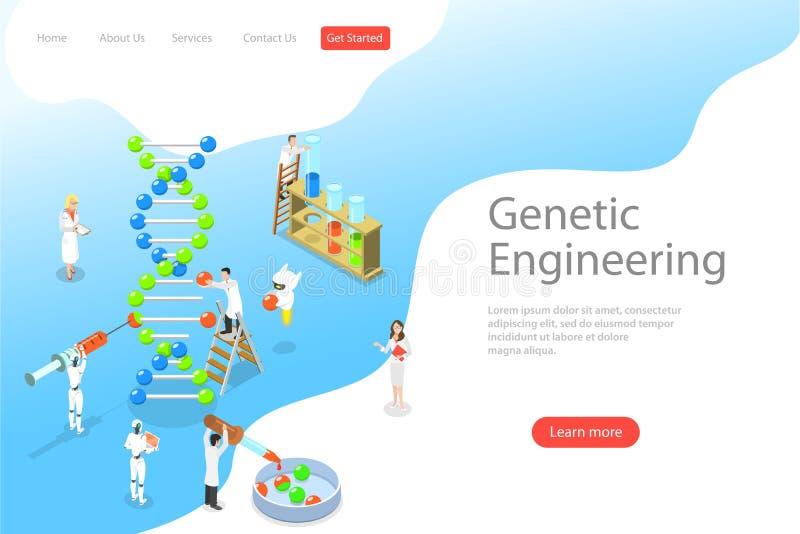 Plantilla plana isométrica de la página del aterrizaje del vector de la ingeniería genética stock de ilustración